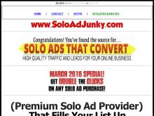 SOLO ADS With GUARANTEED RESULTS  100% TIER 1 SUBSCRIBERS  SoloAdJunky  2016 MARCH SPECIAL  400 Clicks/100 Optins SOLO AD